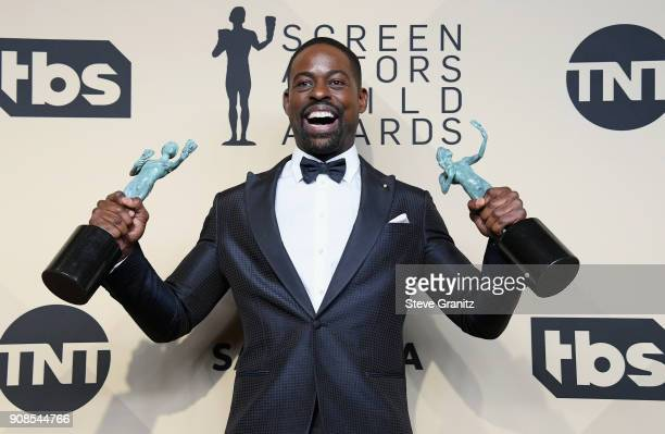 Actor Sterling K Brown poses in the press room during the 24th Annual Screen ActorsGuild Awards at The Shrine Auditorium on January 21 2018 in Los...