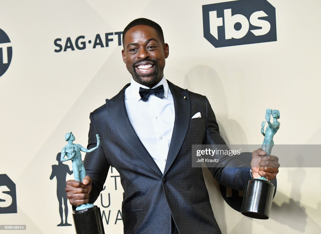 Actor Sterling K. Brown poses in the press room during the 24th Annual Screen Actors Guild Awards at The Shrine Auditorium on January 21, 2018 in Los Angeles, California.