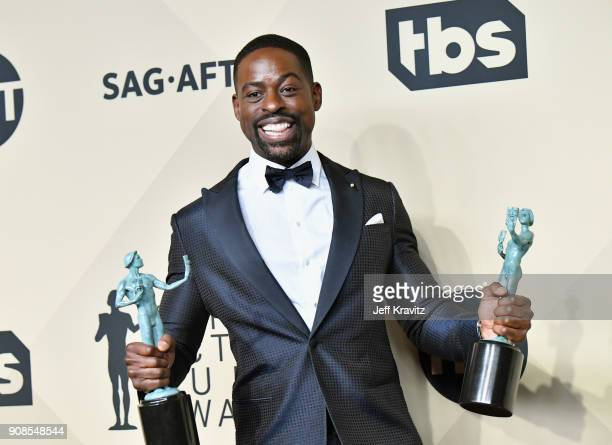 Actor Sterling K. Brown poses in the press room during the 24th Annual Screen ActorsGuild Awards at The Shrine Auditorium on January 21, 2018 in Los...