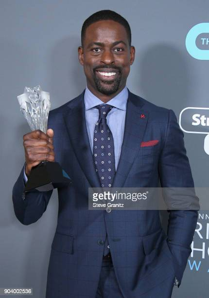 Actor Sterling K Brown poses with the award for Best Actor in a Drama Series for 'This Is Us' in the press room during The 23rd Annual Critics'...