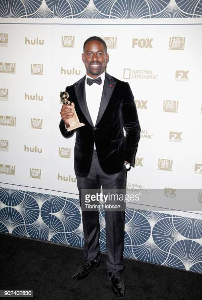 Actor Sterling K Brown poses with the Best Performance by an Actor In A Television Series Drama award for 'This Is Us' during the FOX FX and Hulu...