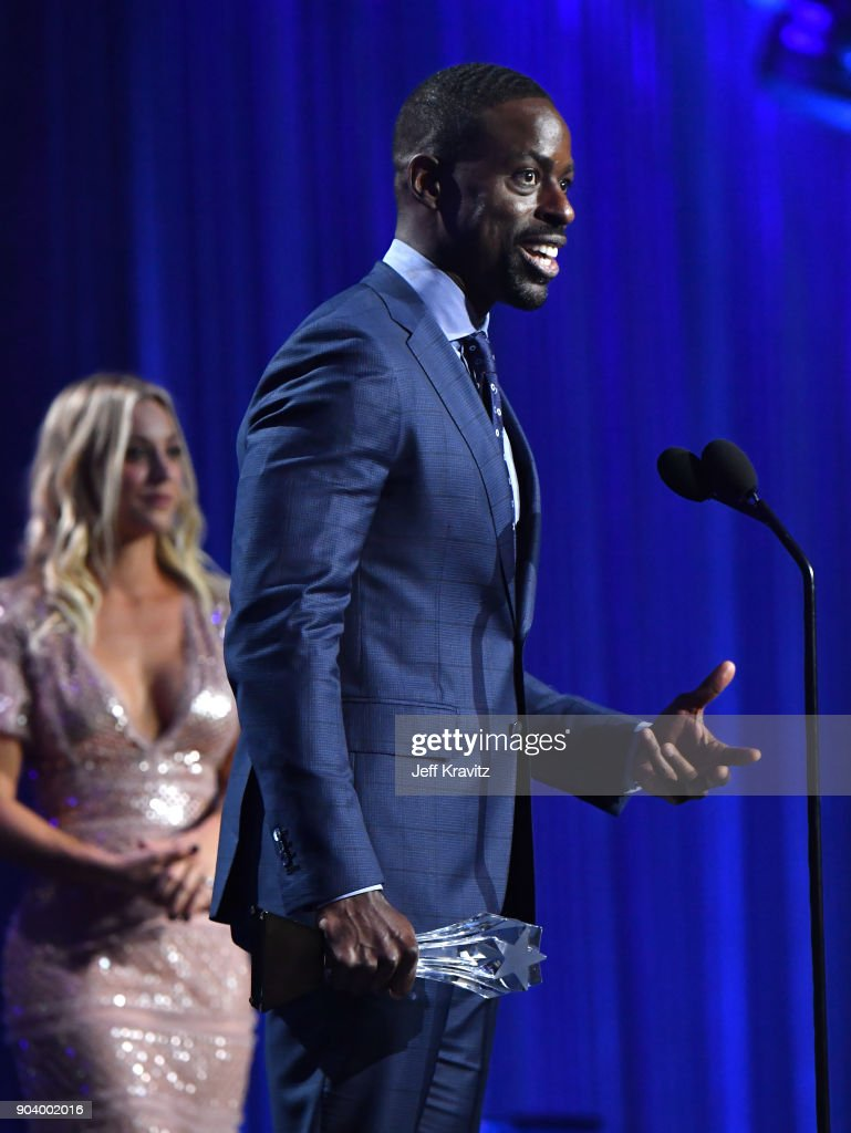 Actor Sterling K. Brown speaks on stage at The 23rd Annual Critics' Choice Awards at Barker Hangar on January 11, 2018 in Santa Monica, California.