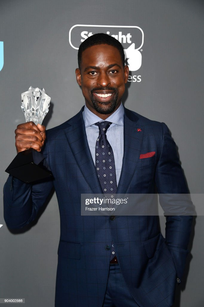 Actor Sterling K. Brown, winner of Best Actor in a Drama Series for 'This Is Us', poses in the press room during The 23rd Annual Critics' Choice Awards at Barker Hangar on January 11, 2018 in Santa Monica, California.