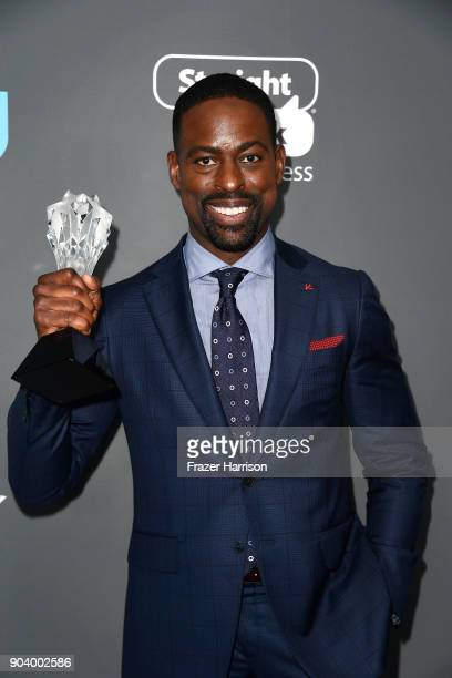 Actor Sterling K Brown winner of Best Actor in a Drama Series for 'This Is Us' poses in the press room during The 23rd Annual Critics' Choice Awards...