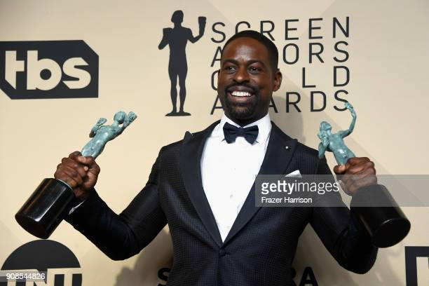 Actor Sterling K Brown winner of Outstanding Performance by a Male Actor in a Drama Series and Outstanding Performance by an Ensemble in a Drama...