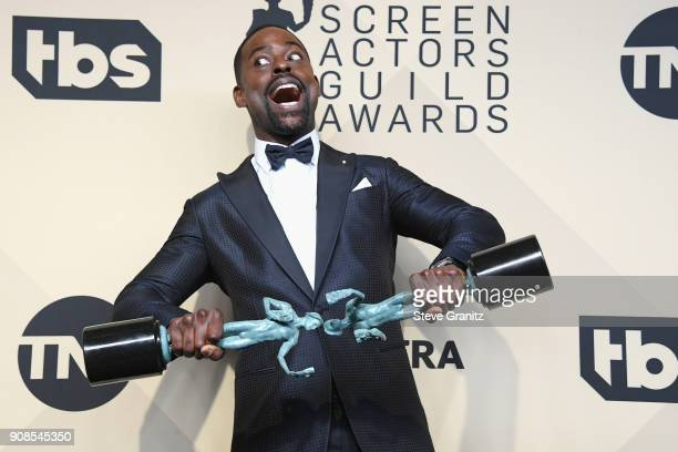 Actor Sterling K Brown winner of the awards for Outstanding Performance by a Male Actor in a Drama Series and Outstanding Performance by an Ensemble...