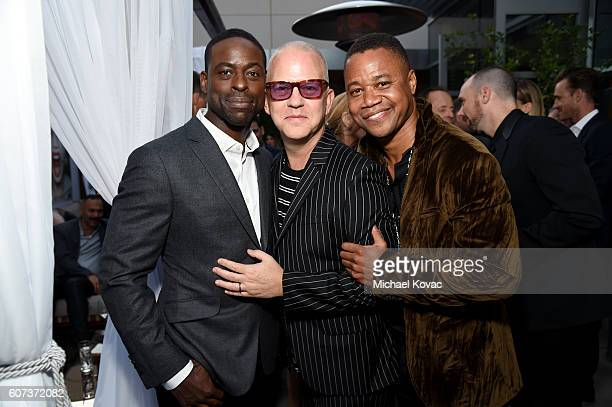 Actor Sterling K Brown writer/producer/director Ryan Murphy and actor Cuba Gooding Jr at Vanity Fair And FX's Annual Primetime Emmy Nominations Party...