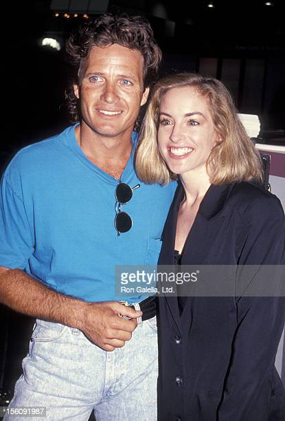 Actor Steve Bond and actress Amanda Wyss attend 10th Annual Software Video Dealers Convention on July 14 1991 at the Sands Hotel in Las Vegas Nevada
