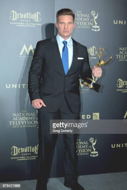 Actor Steve Burton displays his Emmy Award at the 44th Annual Daytime Emmy Awards at Pasadena Civic Auditorium on April 30 2017 in Pasadena California