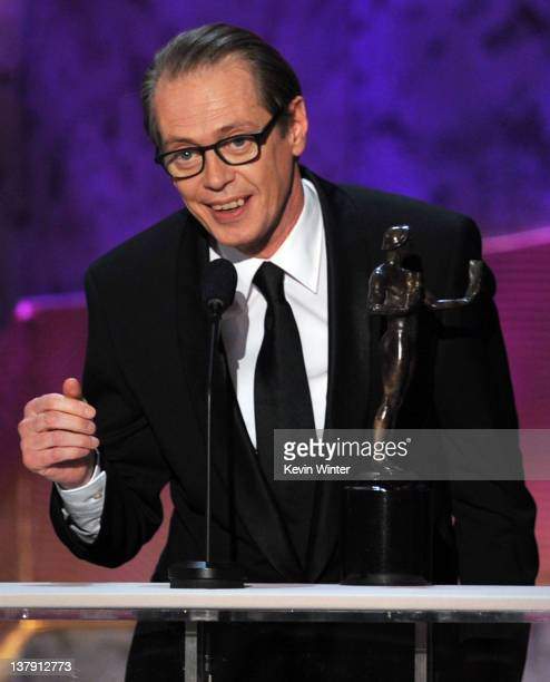 Actor Steve Buscemi accepts the Outstanding Performance by a Male Actor in a Drama Series award for 'Boardwalk Empire' onstage during the 18th Annual...