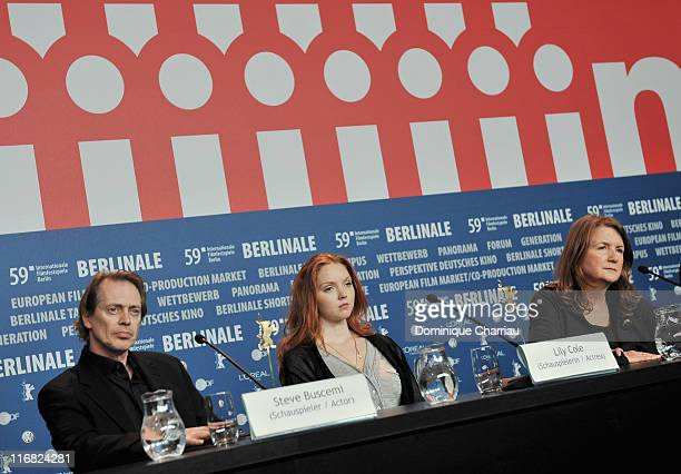 """Actor Steve Buscemi, actress Lily Cole and director Sally Potter attend the """"Rage"""" press conference during the 59th Berlin International Film..."""