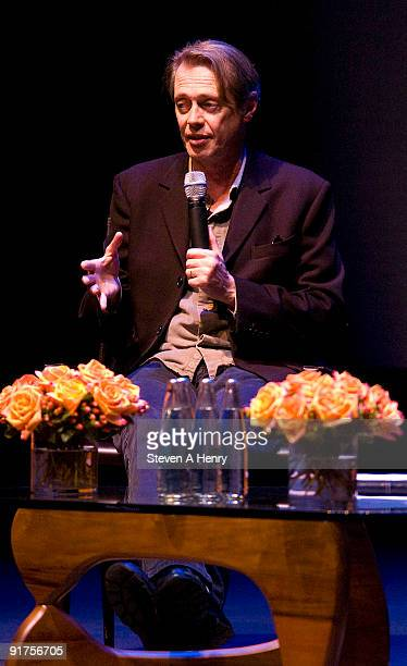 """Actor Steve Buscemi is interviewed during """"A Conversation With"""" as part of the 17th Annual Hamptons International Film Festival at the Guild Hall on..."""