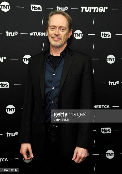 Actor Steve Buscemi of 'Miracle Workers' poses in the green room during the TCA Turner Winter Press Tour 2018 Presentation at The Langham Huntington...