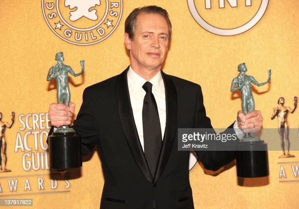 Actor Steve Buscemi poses in the press room during the 18th Annual Screen Actors Guild Awards at The Shrine Auditorium on January 29 2012 in Los...