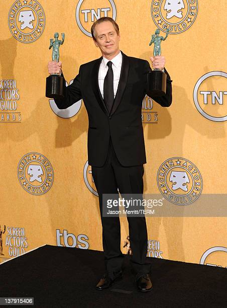 Actor Steve Buscemi poses in the press room with with his Outstanding Performance By A Male Actor In A Drama Series award for 'Boardwalk Empire'...