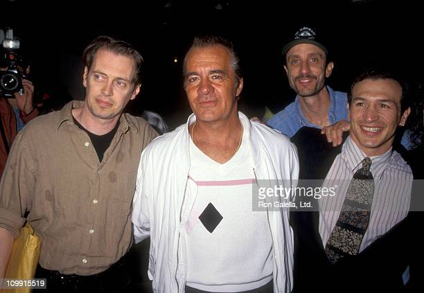 Actor Steve Buscemi Tony Sirico Sam Henry Kass and Sam Henry Kass attend the premiere of 'The Search for Oneeye Jimmy' on June 19 1996 at Cinema...