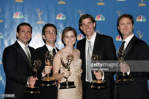 Actor Steve Carell, actor B.J. Novak, actress Jenna Fischer, actor John Krasinski and actor Rainn Wilson poses in the press room after winning...