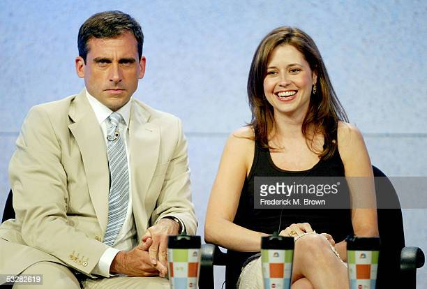 """Actor Steve Carell and actress Jenna Fischer attend the panel discussion for """"The Office"""" during the NBC 2005 Television Critics Association Summer..."""