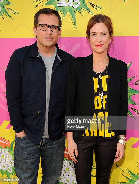 Actor Steve Carell and actress Kristen Wiig arrive at Nickelodeon's 26th Annual Kids' Choice Awards at USC Galen Center on March 23 2013 in Los...