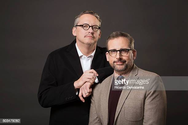 Actor Steve Carell and director Adam McKay are photographed for Los Angeles Times on December 1 2015 in Los Angeles California PUBLISHED IMAGE CREDIT...