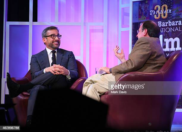 Actor Steve Carell and moderator Pete Hammond speak at the 2015 Outstanding Performer of the Year Award at the 30th Santa Barbara International Film...