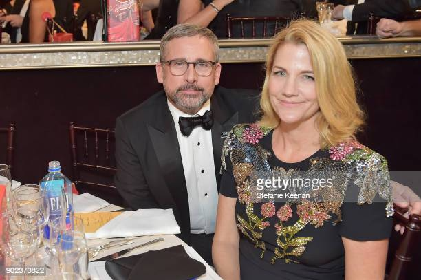 Actor Steve Carell and Nancy Carell attend The 75th Annual Golden Globe Awards at The Beverly Hilton Hotel on January 7, 2018 in Beverly Hills,...