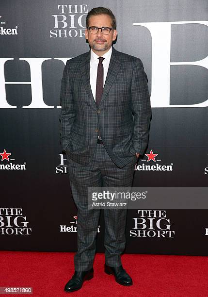 Actor Steve Carell attends 'The Big Short' New York premiere at Ziegfeld Theater on November 23 2015 in New York City