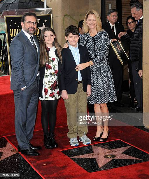 Actor Steve Carell daughter Elisabeth Carell son John Carell and wife Nancy Carell at Steve Carell's Star Ceremony held on the Hollywood Walk of Fame...