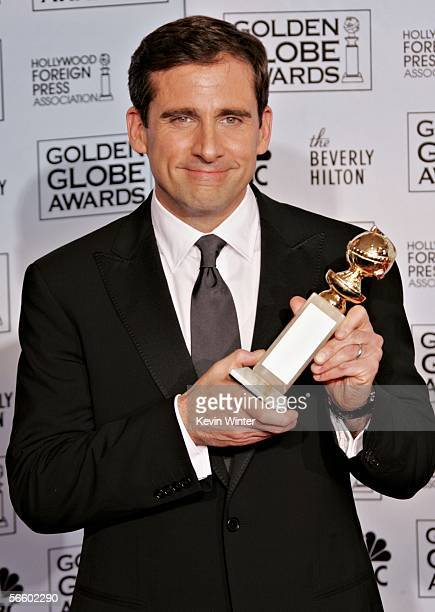 """Actor Steve Carell poses backstage with his award for Best Actor, Musical or Comedy for """"The Office"""" during 63rd Annual Golden Globe Awards at the..."""