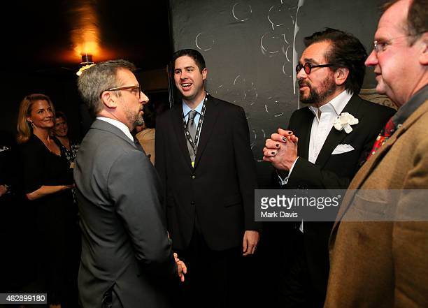 Actor Steve Carell SBIFF director Roger Durling and moderator Pete Hammond visit the Dom Perignon Lounge after the Outstanding Performer of the Year...