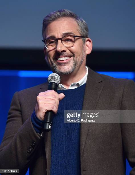 Actor Steve Carell speaks onstage during CinemaCon 2018 Amazon Studios An Exciting New Year of Great Product for Cinemas Program at Caesars Palace...