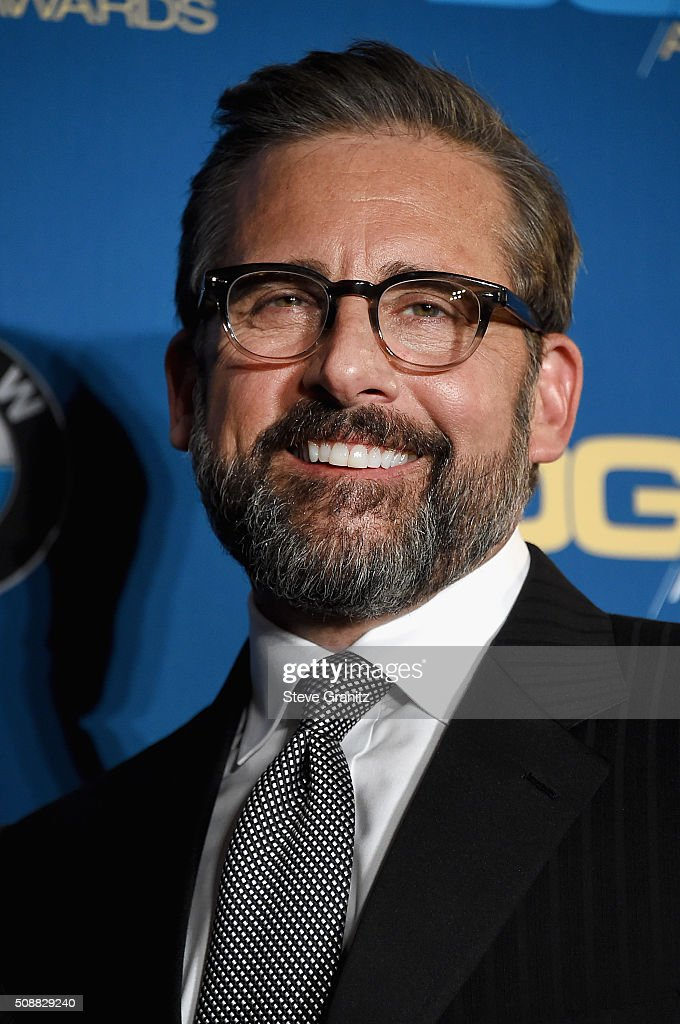 Actor Steve Carrell poses in the press room during the 68th Annual Directors Guild Of America Awards at the Hyatt Regency Century Plaza on February 6, 2016 in Los Angeles, California.