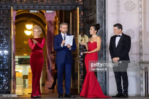 Actor Steve Carrell serves as an award presenter at the Metropolitan Fashion Week's Closing Gala And Fashion Show at Los Angeles City Hall on October...