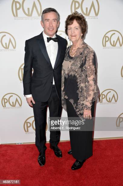 Actor Steve Coogan and Philomena Lee attend the 25th annual Producers Guild of America Awards at The Beverly Hilton Hotel on January 19 2014 in...