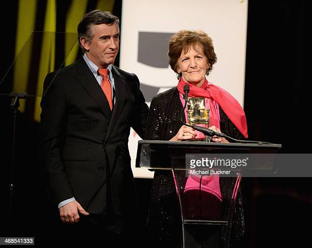 Actor Steve Coogan and Philomena Lee speak onstage at the 13th Annual AARP's Movies for Grownups Awards Gala at Regent Beverly Wilshire Hotel on...