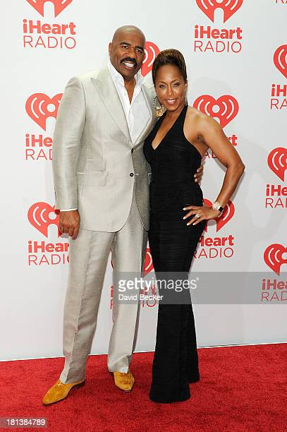 Actor Steve Harvey and Marjorie Bridges attend the iHeartRadio Music Festival at the MGM Grand Garden Arena on September 20 2013 in Las Vegas Nevada