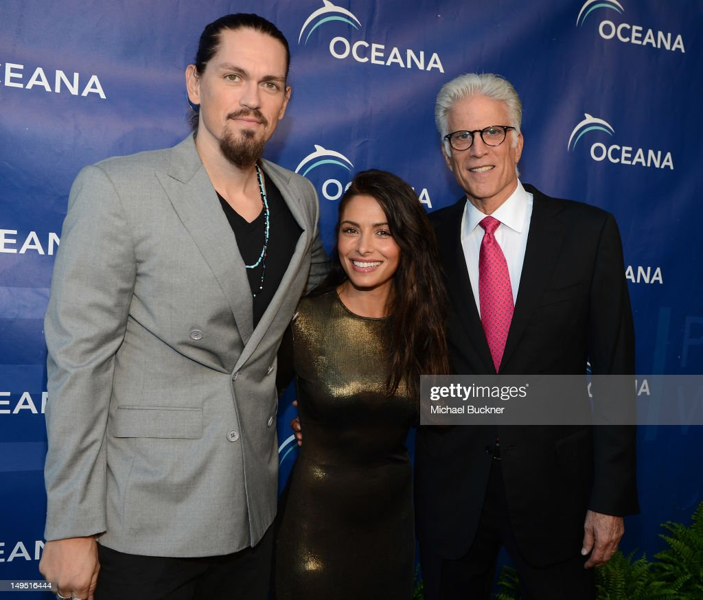 Actor Steve Howey, actress Sarah Shahi and actor Ted Danson arrive at the 2012 Oceana's SeaChange Party at a private residence on July 29, 2012 in Laguna Beach, California.