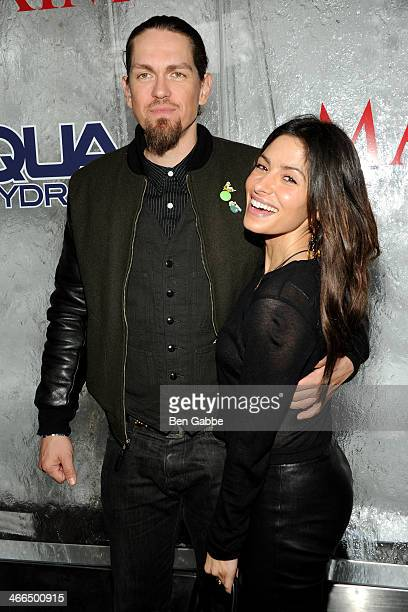 Actor Steve Howey and actress Sarah Shahi attend MAXIM Magazine's Big Game Weekend Sponsored By AQUAhydrate on February 1 2014 in New York City