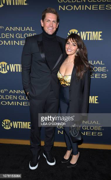 Actor Steve Howey and actress Sarah Shahi attends the Showtime Golden Globe Nominee Celebration in Los Angeles California on January 5 2019