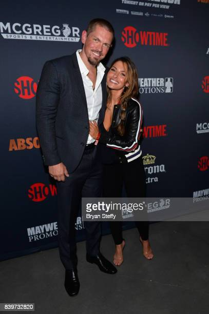 Actor Steve Howey and Sarah Shahi attend the Showtime WME IME and Mayweather Promotions VIP PreFight party for Mayweather vs McGregor at TMobile...