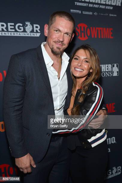 Actor Steve Howey and Sarah Shahi attends the Showtime WME IME and Mayweather Promotions VIP PreFight party for Mayweather vs McGregor at TMobile...