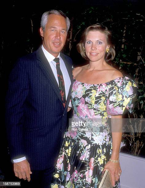 Actor Steve Kanaly and wife Brent Power attend the CBS Affiliates Party on May 20 1987 at Century Plaza Hotel in Los Angeles California