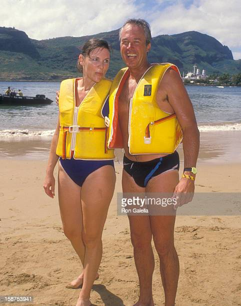 Actor Steve Kanaly and wife Brent Power attend the Kauai Lagoons Celebrity Sports Invitational Captain Zodiac Boat Race Practice on October 6 1988 at...