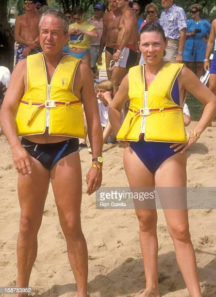 Actor Steve Kanaly and wife Brent Power attend the Kauai Lagoons Celebrity Sports Invitational Captain Zodiac Boat Race on October 7 1988 at Kalapaki...