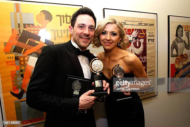 Actor Steve Kazee winner of Best Performance by a Leading Actor in a Musical for 'Once' and actress Nina Arianda winner of Best Performance by a...