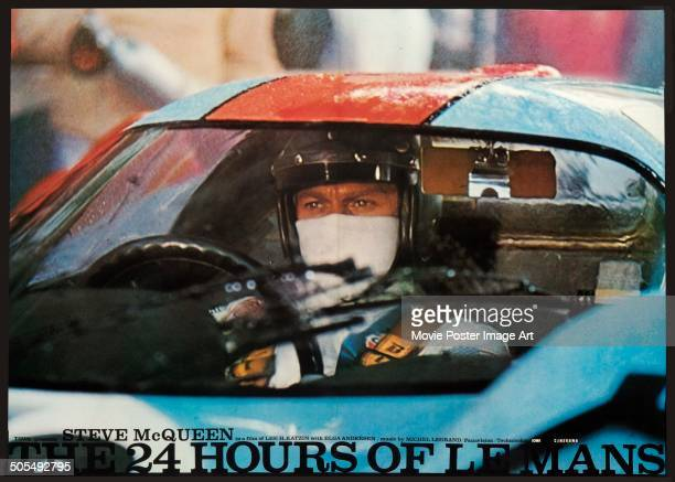 Actor Steve McQueen appears on a poster for the racing movie 'Le Mans' aka 'The 24 Hours of Le Mans' 1971