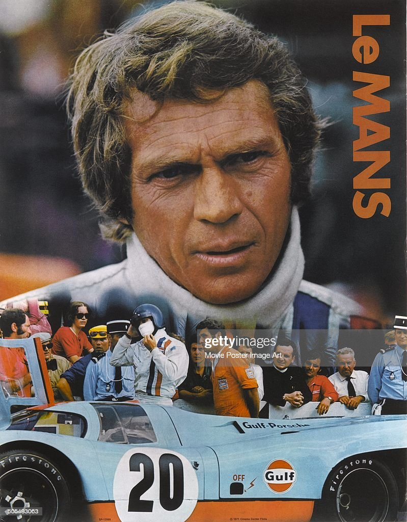 actor steve mcqueen appears on a poster for the racing. Black Bedroom Furniture Sets. Home Design Ideas