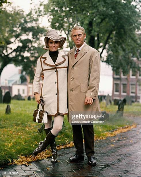 Actor Steve McQueen as Thomas Crown and Faye Dunaway as Vicki Anderson on the set of the heist film 'The Thomas Crown Affair' 1968