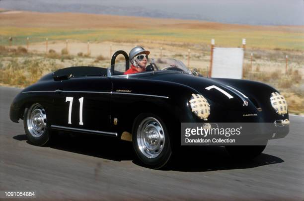 Actor Steve McQueen in his Porsche Speedster at the Riverside Raceway on April 26, 1959 in Moreno Valley, California.