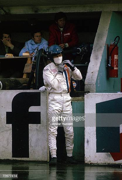 Actor Steve McQueen is seen on set for the film 'Le Mans' in 1971 in Le Mans France